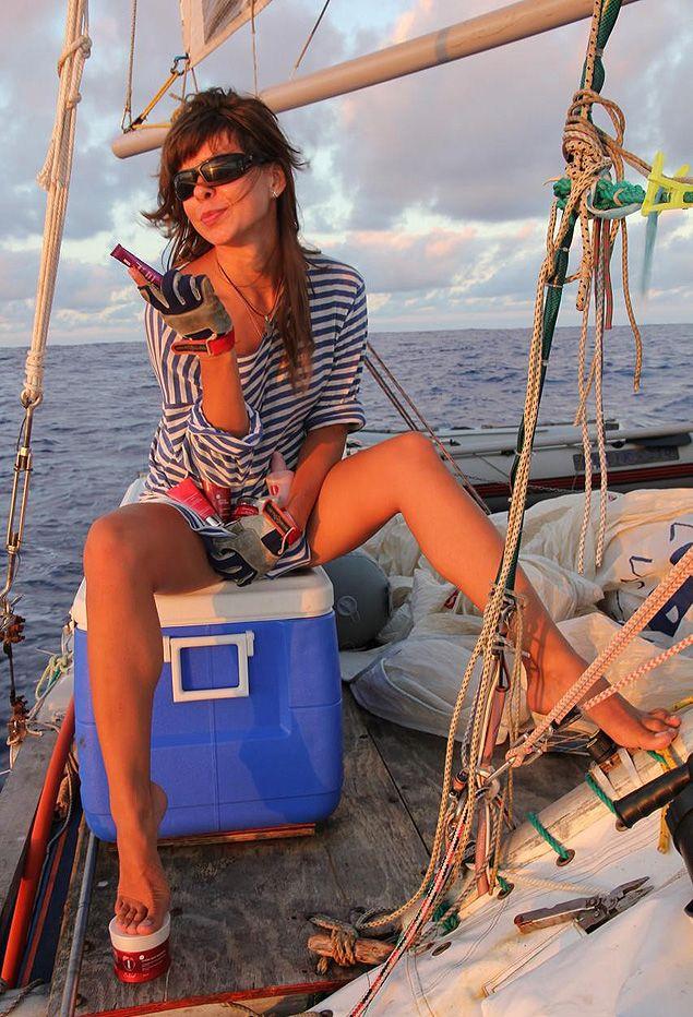 Часть пути прошла с мужской командой путешественница Ольга Антонова.